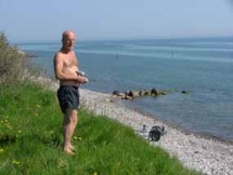 Jan op strand